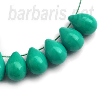 """Бусины """"Зеленые капли"""" стекло"""