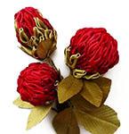 """Цветок в технике канзаши для бутоньерки """"Клевер луговой"""""""