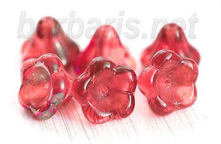 """Preciosa Бусины """"Красные цветы"""" стекло (фото, вид 1)"""