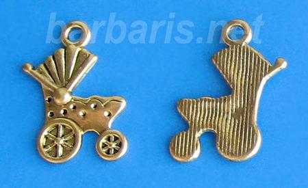"""Подвеска """"Коляска"""" золото (фото, вид 1)"""