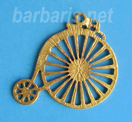 """Подвеска золото """"Старинный велосипед"""" (фото, вид 1)"""