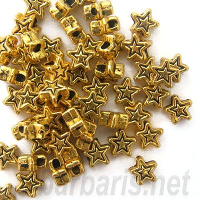 """Бусина металл золото """"Звезда"""" (фото, вид 1)"""