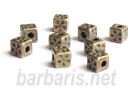 """Бусина металл бронза """"Кубик"""" (фото, вид 1)"""