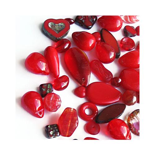 """Preciosa Набор бусин """"Красный микс"""" стекло (фото, вид 1)"""