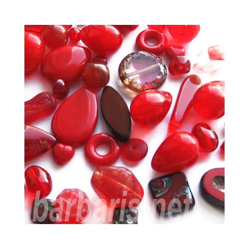 """Preciosa Набор бусин """"Красный микс"""" стекло (фото, вид 2)"""