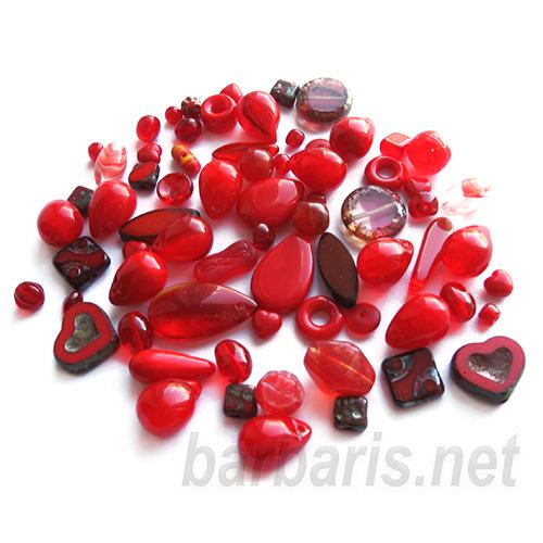 """Preciosa Набор бусин """"Красный микс"""" стекло (фото, вид 3)"""