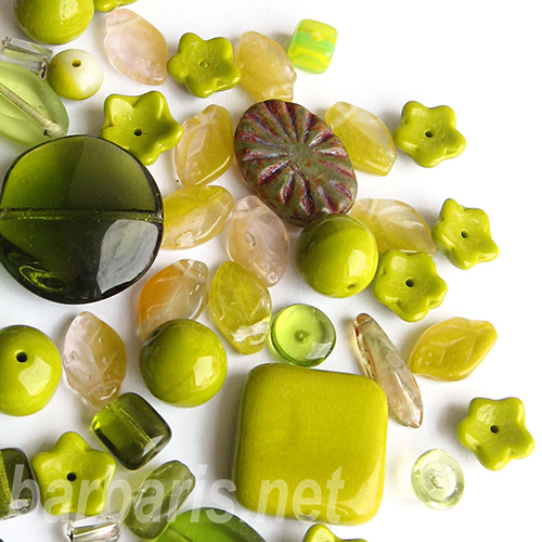 "Preciosa Набор бусин ""Оливковый микс"" стекло (фото, вид 1)"