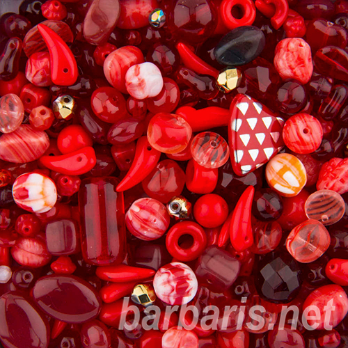 """Preciosa Набор бусин """"Красный микс"""" стекло (фото, вид 4)"""