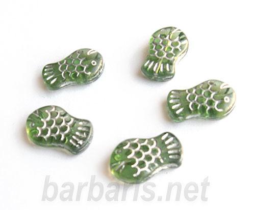 """Preciosa Бусины """"Зеленые рыбки""""стекло (фото, вид 1)"""