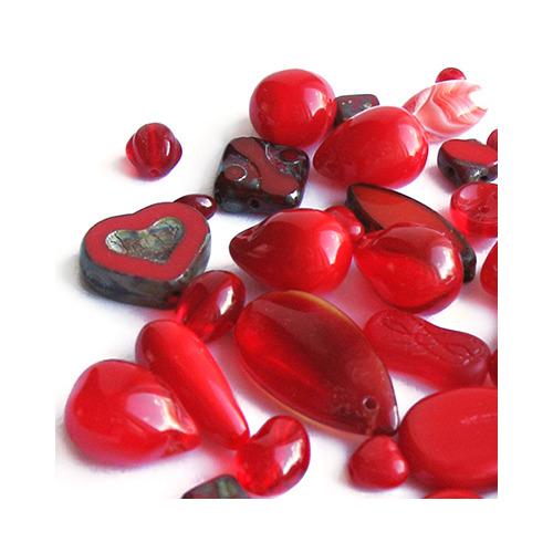 """Preciosa Набор бусин """"Красный микс"""" стекло (фото)"""