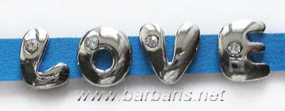 """Бусина металл серебро """"Латинские буквы"""""""