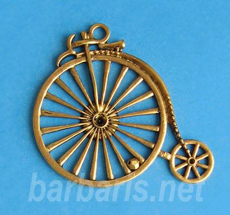 """Подвеска золото """"Старинный велосипед"""" (фото)"""
