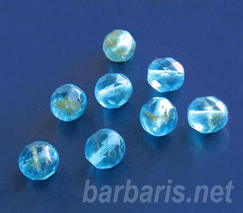 бусины голубые с золотым напылением