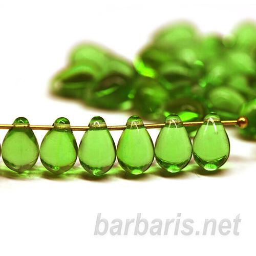 """Preciosa Бусины """"Зеленые капли"""" стекло (фото)"""