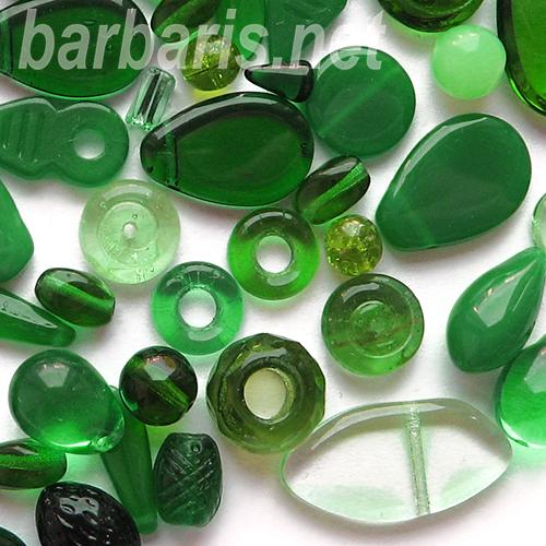 "Preciosa Набор бусин ""Зеленый микс"" стекло (фото)"