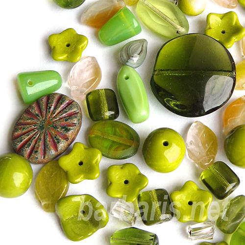 "Preciosa Набор бусин ""Оливковый микс"" стекло (фото)"
